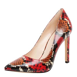 Multi-color Python Dress Shoes Pointy Toe Stiletto Heels Pumps