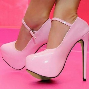 Baby Pink Mary Jane Pumps Platform High Heel Pumps US Size 3-15