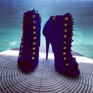 Royal Blue Peep Toe Booties Lace up Studded Ankle Booties for Women