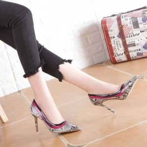 Talon gris 4 pouces talon aigu Python Toil Stiletto Escarpins