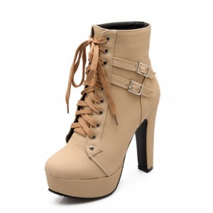 Nude Lace up Platform Chunky Heel Boots Rock Motorcycle Boots