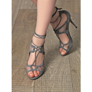 Vita Grey Lace-up Sandals Peep Toe Stiletto Heels Strappy Sandals