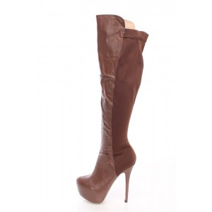 Brown Wide Calf Boots Platform High Heel Knee High Boots