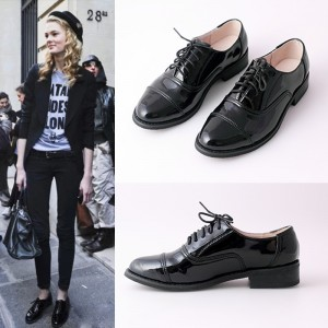 Black Women's Oxfords Patent Leather Lace up Flats School Shoes