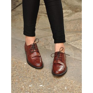 Brown Women's Oxfords Fringe Vintage Vegan Shoes US Size 3-15