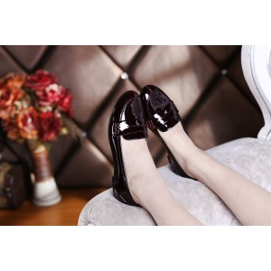 Burgundy Patent Leather Loafers for Women Round Toe Comfortable Flat