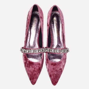 Escarpins velours prune vintage Mary Jane avec strass
