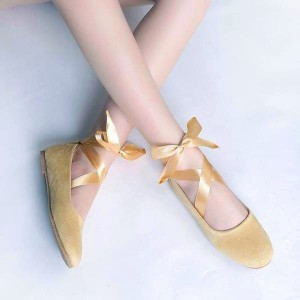 Yellow Suede Ballet Flats Silk Ribbon Strappy Shoes for Female
