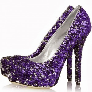 Purple Evening Shoes Sequined Pumps Platform High Heels for Prom