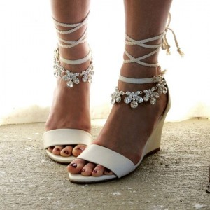 White Rhinestone Wedding Wedges Bridal Heels Strappy Sandals