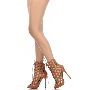 Tan Lace up Caged Sandals Hollow out Stiletto Heels Caged Sandals