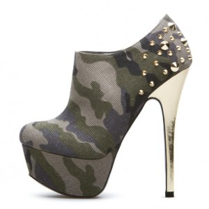 Camouflage Platform Boots Rivets Bottines Fantaisie Taille US 3-15