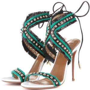 Women's Cyan Open Toe with Metal Lace Up Stiletto Heels  Sandals