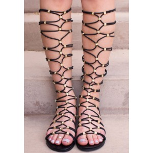 Women's Black Gladiator Sandals Strappy Comfortable Flats