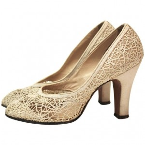 Spider Man Khaki Lace Web Chunky Heels Pumps for Halloween