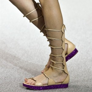 Women's Khaki Buckle Open Toe Hollow Out Flats Gladiator Sandals