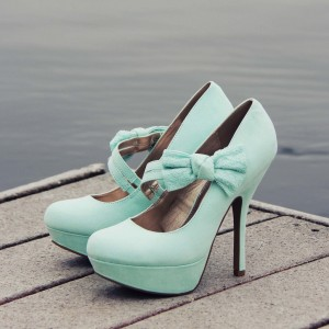 Cyan Mary Jane Pumps Femmes Bow Plate-forme Chaussures à Talons