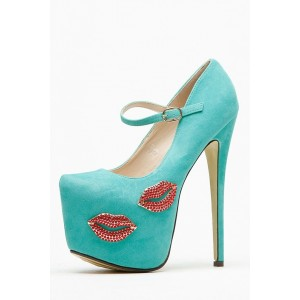 Strass Turquoise Mary Jane Pumps Platform Chaussures à talons hauts