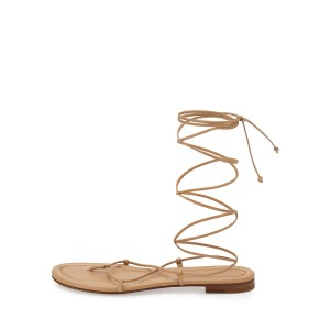 Women's Apricot Color Strappy Flat Gladiator Sandals