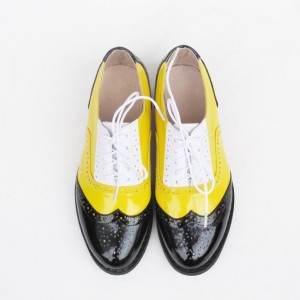 Multicolor Wingtip Shoes Patent Leather Lace up Flat Oxfords
