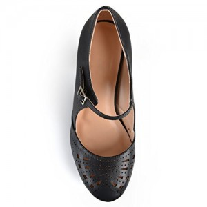 Women's Black Cutout Round Toe Mary Jane Pumps Vintage Heels