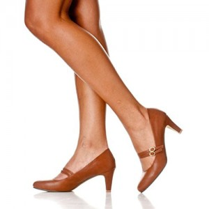 Tan Mary Jane Pumps Vintage Chunky Heels