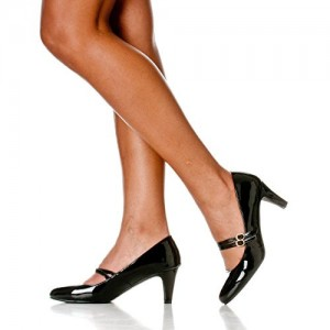 Black Mid Heel Women's Mary Jane Pumps Vintage Heels