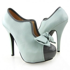 Turquoise Bow Vintage Chaussures Stiletto Talons Plateforme Bottines