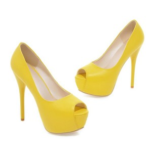 Women's Yellow Peep Toe Heels Stilettos Heels Pumps Platform Heels