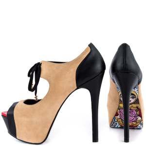 Nude And Black Mary Jane Pumps Platform Peep Toe Stiletto Heels